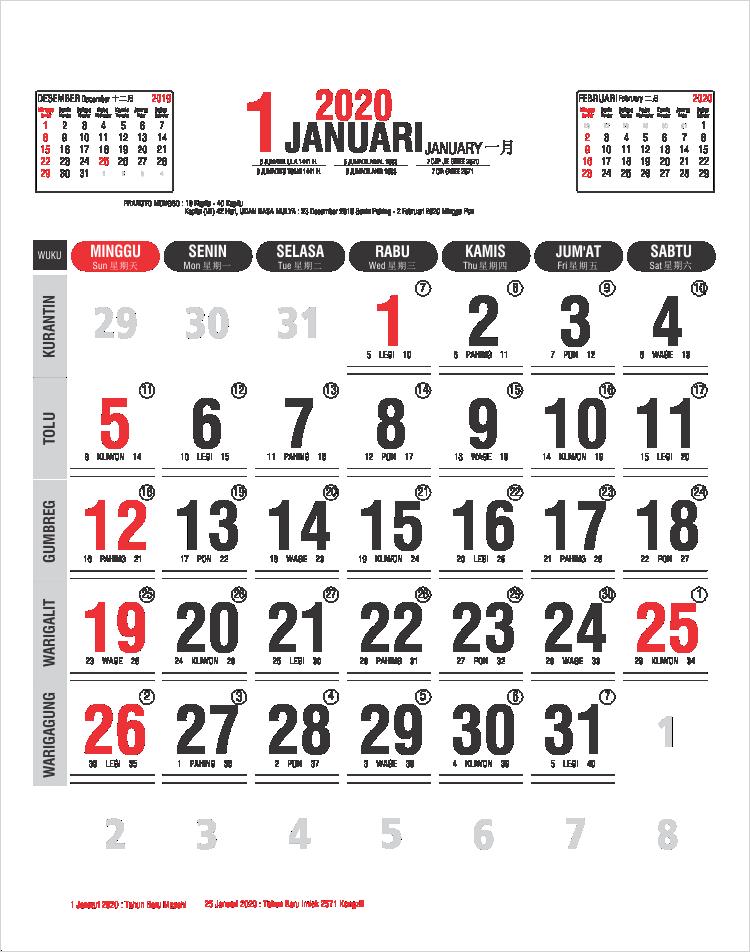 Template Kalender Kerja 2020 25 Kalender Bulanan, Kalender ...